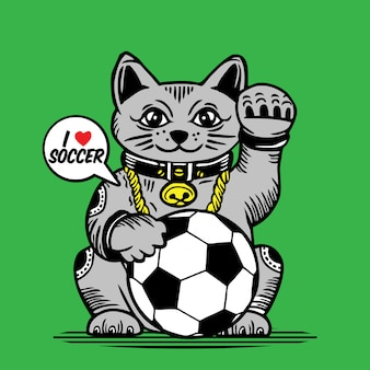 Lucky fortune cat voetbal bal characterdesign