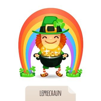 Lucky leprechaun met munten voor een regenboog