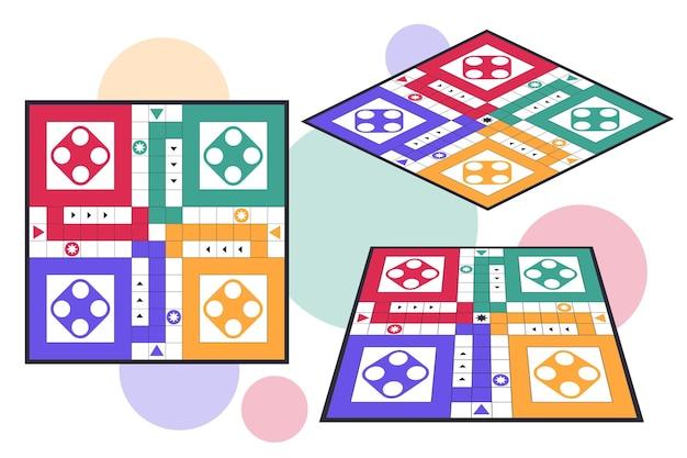 Ludo bordspel in verschillende perspectieven