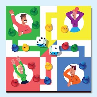 Ludo-spelbord met poten en dobbelstenen