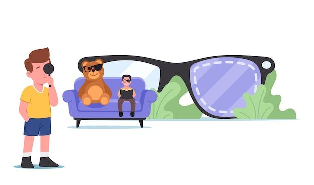 Lui oog amblyopie, scheelzien ziekte concept. tiny kids-personages met gezichtsstoornis bij enorme brillen