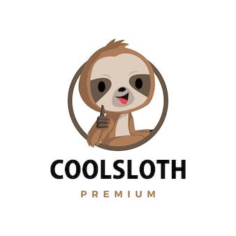 Luiaard duim omhoog mascotte karakter logo pictogram illustratie