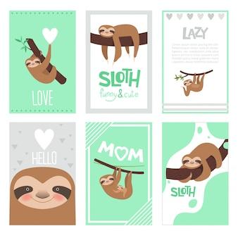 Luiaard kaarten ontwerp. pyjama textielprint met schattige kleine slaperige dieren op tak vector afbeeldingen collectie