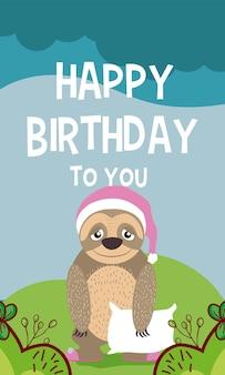 Luiaardcartoon op gelukkige verjaardagskaart