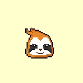 Luiaardkop met pixelkunststijl