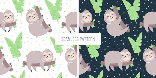 Luiaards en bladeren naadloos patroon