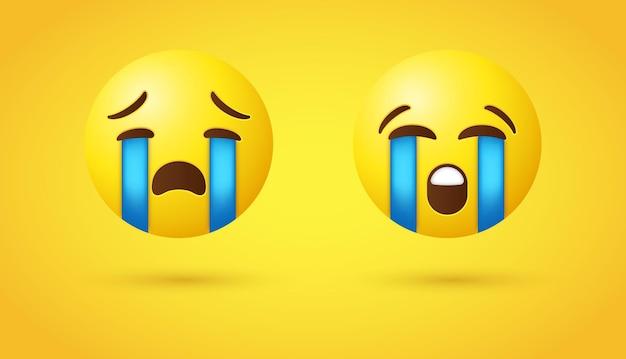 Luid huilende emoji of 3d geel droevig gezicht snikkende tranen