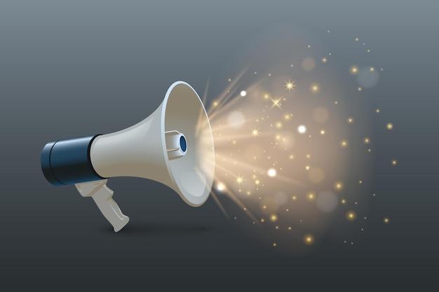 Luidspreker 3d realistische afbeelding megafoon met glanzende verlichting op grijze achtergrond