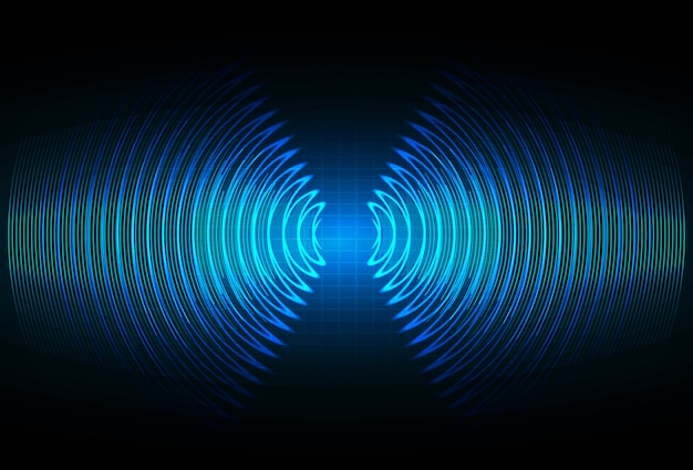 Luidspreker en geluidsgolven oscillerend donkerblauw licht