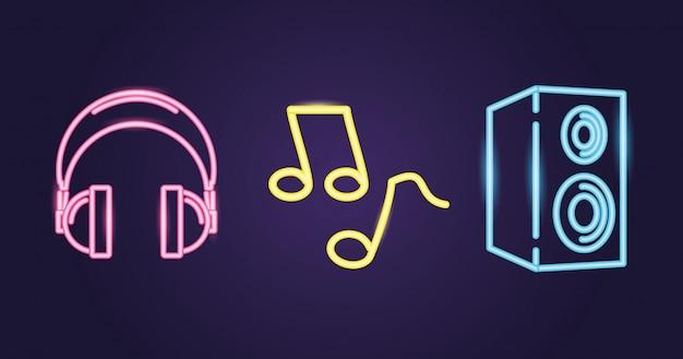 Luidspreker, koptelefoon en muzieknoot met neonstijl over paars