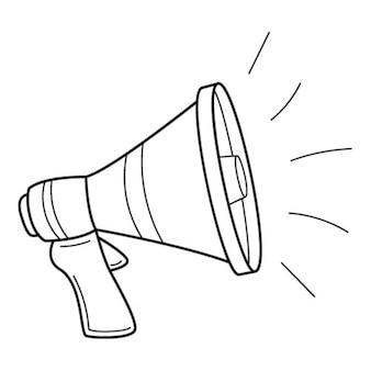 Luidspreker, megafoon, hoorn. uitzending van nieuws, berichten. handgetekende zwart witte vector