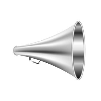 Luidspreker retro metaal voor voice speaker-man op wit wordt geïsoleerd dat