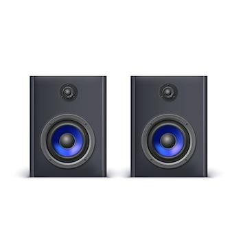 Luidsprekers met blauwe diffusors