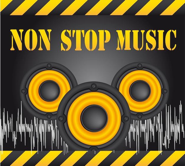 Luidsprekers over zwarte achtergrond non-stop muziek vector
