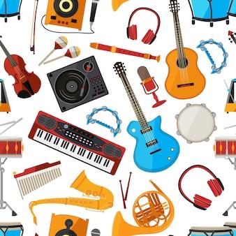 Luidsprekers, versterker, synthesizer en andere muziekinstrumenten en accessoires. vector naadloos patroon met muziekinstrument, guita en microfoonillustratie