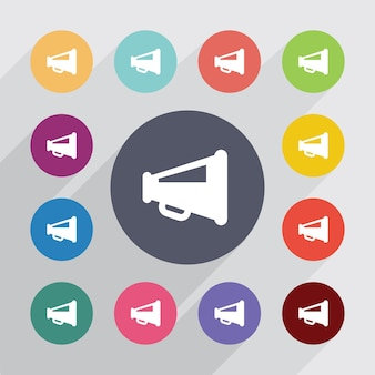 Luidsprekersymbool, plat pictogrammen instellen. ronde kleurrijke knopen. vector