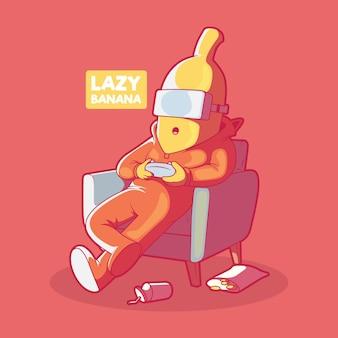 Luie banaan. gaming, quarantaine, lifestyle-ontwerp