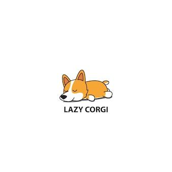 Luie corgi, schattige puppy slaap pictogram