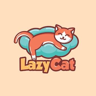 Luie kat logo ontwerp