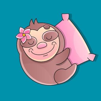 Luie luiaard, schattige luiaard slapende cartoon icoon