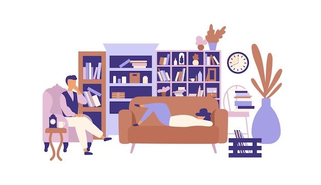 Luie mensen ontspannen in een woonkamer vol met prachtige meubels