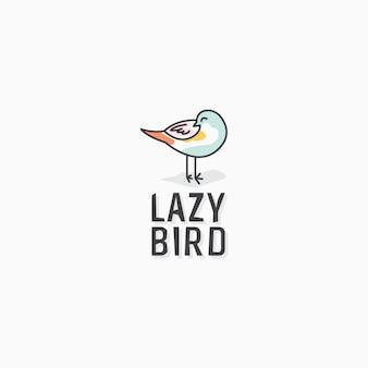 Luie vogel logo ontwerp pictogrammalplaatje
