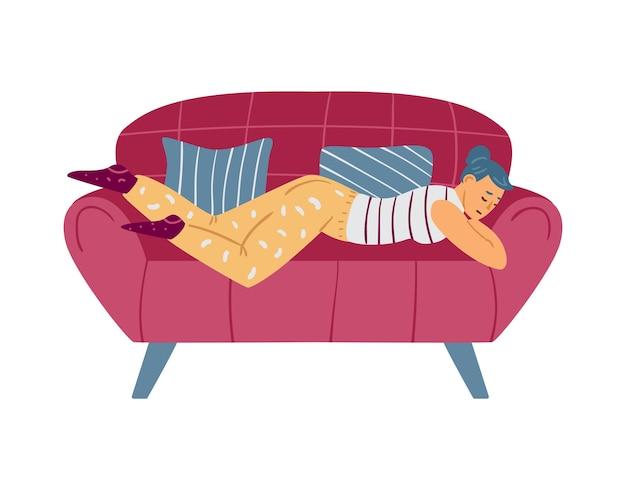 Luie vrouw die op de bank slaapt en niet bereid is om platte vectorillustratie geïsoleerd te werken