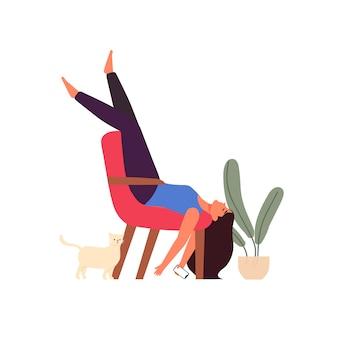 Luie vrouw zittend op een stoel en slapen met mobiele telefoon en kat illustratie