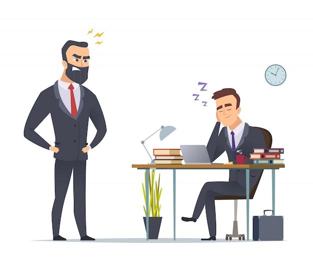 Luie werker. bedrijfsbureaumanager die van het routinewerk wordt vermoeid die bij scène van het bureau de boze directeur bevindende concept uitglijden