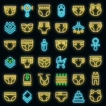 Luier pictogrammen instellen. overzicht set luier vector iconen neon kleur op zwart