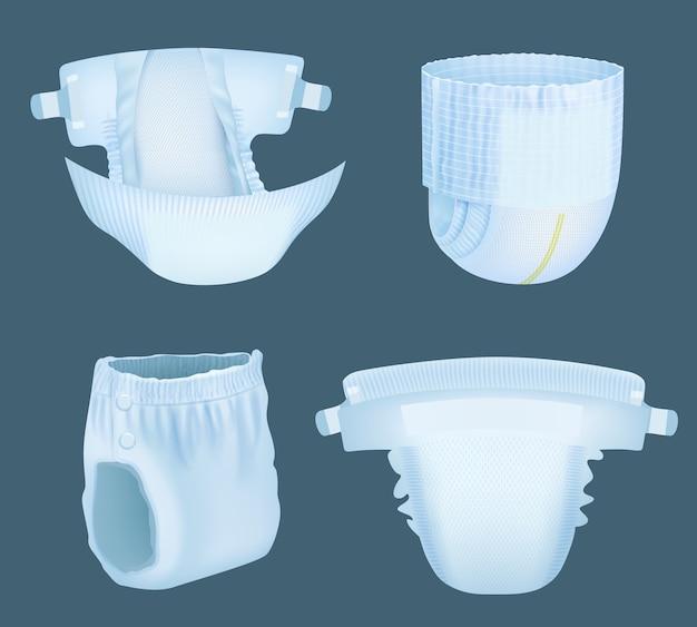 Luier realistisch. baby comfortabele witte zacht gelaagde incontinentieluiers voor plasabsorberende vector sjablonen collectie. zachte luier comfortabele, realistische absorberende en veiligheidsillustratie