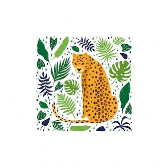 Luipaarden omgeven door tropische palmbladeren