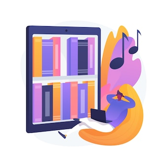 Luister naar audioboeken abstracte concept illustratie. audioboeken online applicatie, website-abonnement, aankoop van e-boeken, e-bibliotheek