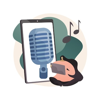 Luister naar podcasts abstracte concept illustratie. vrije tijd in quarantaine van covid-2019