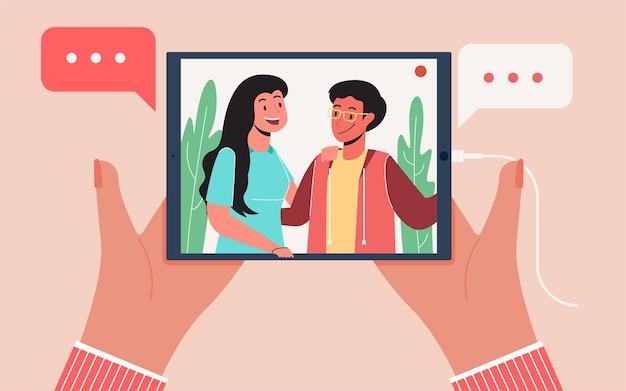 Luister naar streaming podcasts, modern platte illustratie ontwerpconcept voor webpagina's of achtergronden
