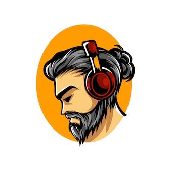 Luisteren muziek e sport mascotte logo