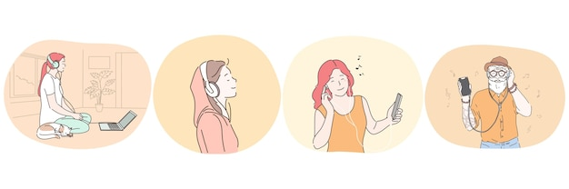 Luisteren naar muziek of audioboek met koptelefoon concept.