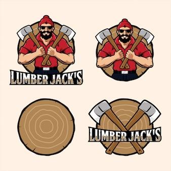 Lumber jack's mascotte logo set