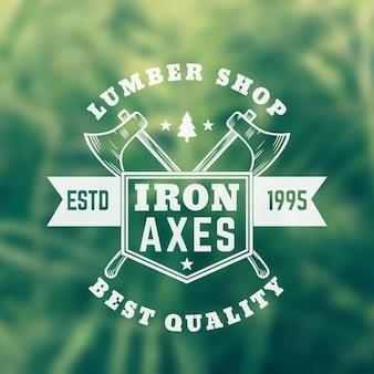 Lumber shop vintage logo met bijlen