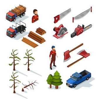 Lumberjack isometric icons set Gratis Vector