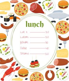 Lunch menusjabloon met een centraal ovaal frame en prijslijst omgeven door kleurrijke kreeft, vis, pizza, worst, sushi, gebakken eieren, gebraden vlees, salami, kaas en cheeseburger