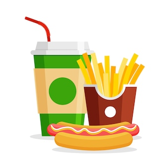Lunch met patat, hotdog en frisdrank. haal fastfood weg. restaurant junkfood menu.