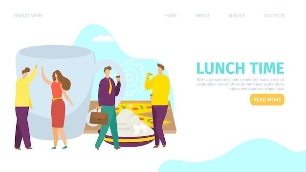 Lunch tijd concept landing banner vector illustratie platte mensen uit het bedrijfsleven karakter ontbijten...