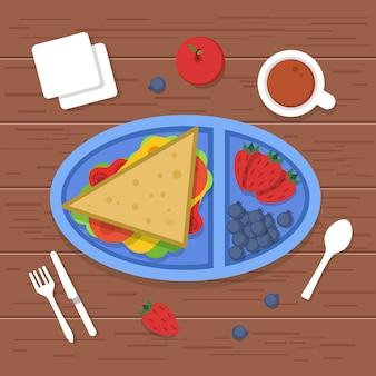 Lunchbox op tafel. plaats om eten container sandwiches gesneden verse gezonde groenten fruit te eten voor het ontbijt. afbeeldingen
