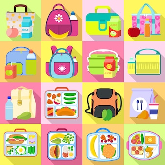 Lunchbox pictogrammen instellen. platte set lunchbox vector