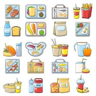 Lunchpauze lunch voedsel pictogrammen instellen