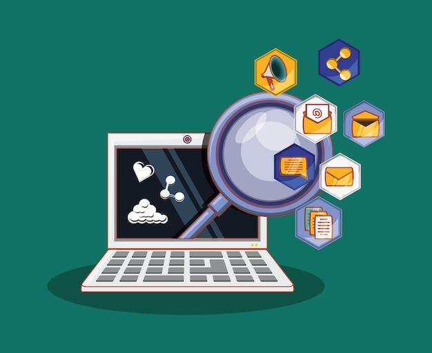 Lupe en laptopcomputer met sociale media verwante pictogrammen