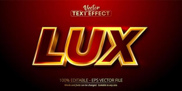 Lux-tekst, glanzend goudstijl bewerkbaar teksteffect