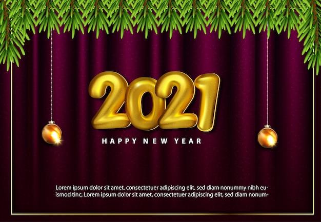 Luxe 2021 gelukkig nieuwjaar bannerontwerp