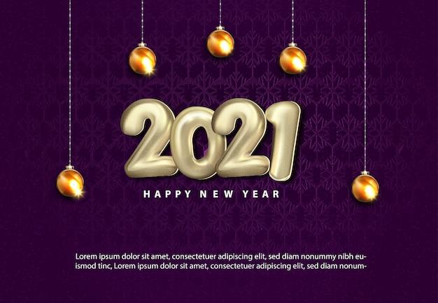 Luxe 2021 gelukkig nieuwjaar met realistisch kerstbalgoud